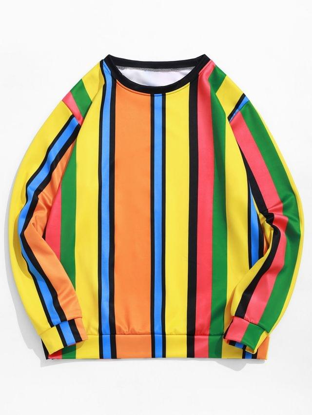 MEN Color Block Panel Vertical Stripes Print Casual Sweatshirt - Multi-b 3xl