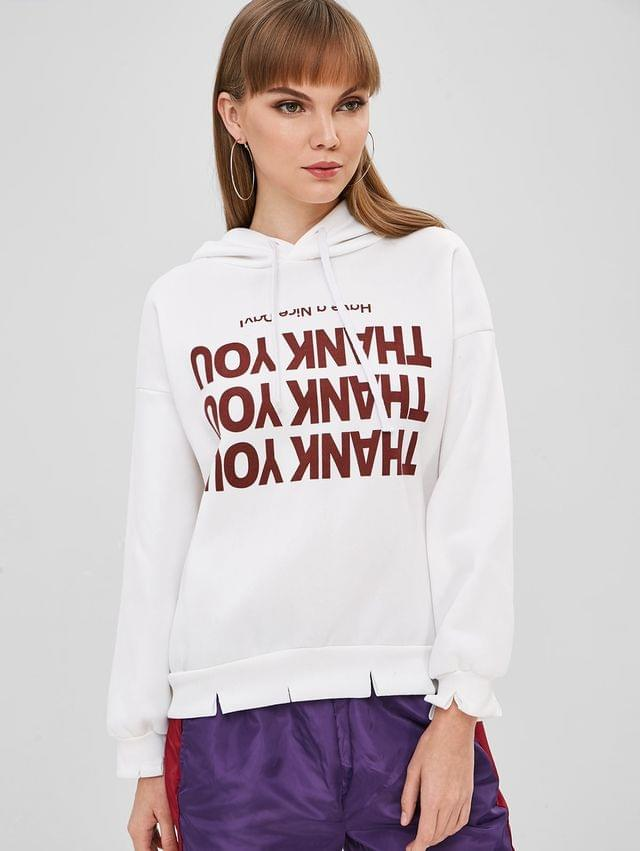 WOMEN Contrast Graphic Pullover Fleece Lined Hoodie - White L