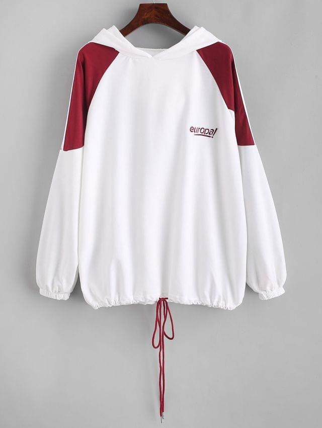 WOMEN Drawstring Racing Stripes Europa Embroidered Hoodie - White L