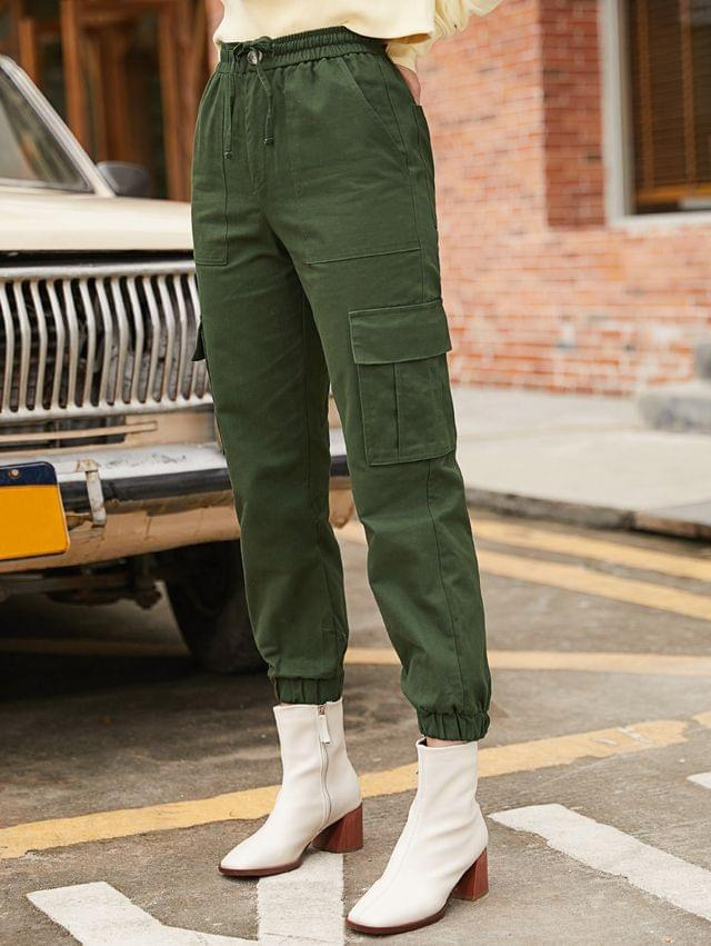 WOMEN Solid Color Zipper Fly Jogger Pants - Army Green L