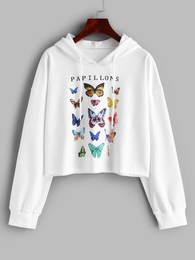 WOMEN Butterfly Letter Graphic Drawstring Loose Hoodie - White M