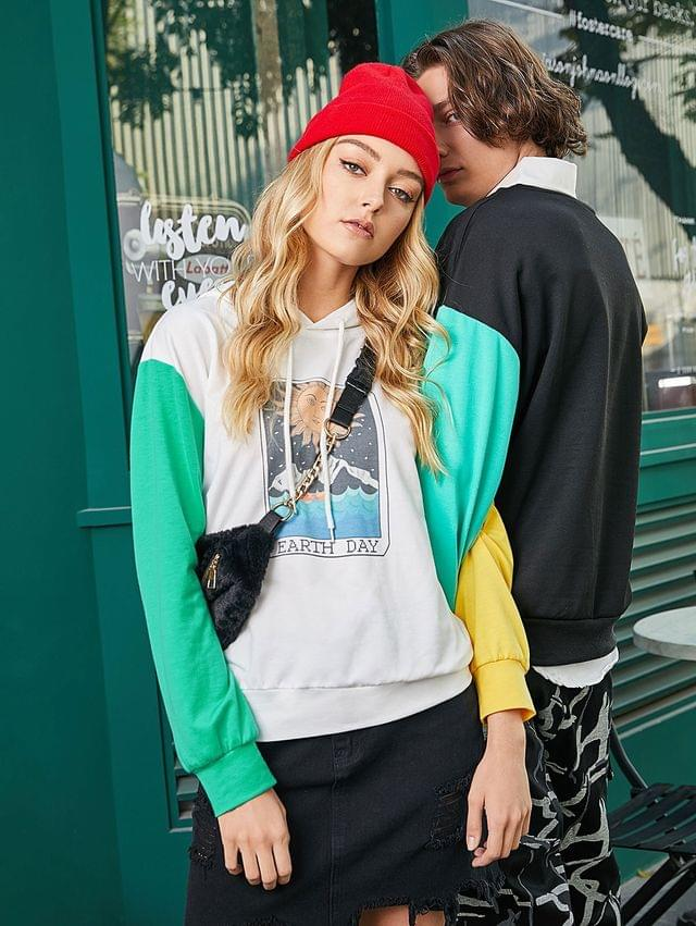 WOMEN Color-blocking Earth Day Graphic Pullover Hoodie - Multi-a L