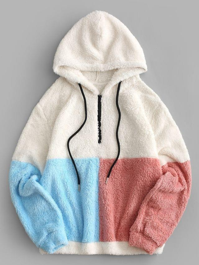 WOMEN Colorblock Quarter Zip Teddy Hoodie - Multi-a Xl