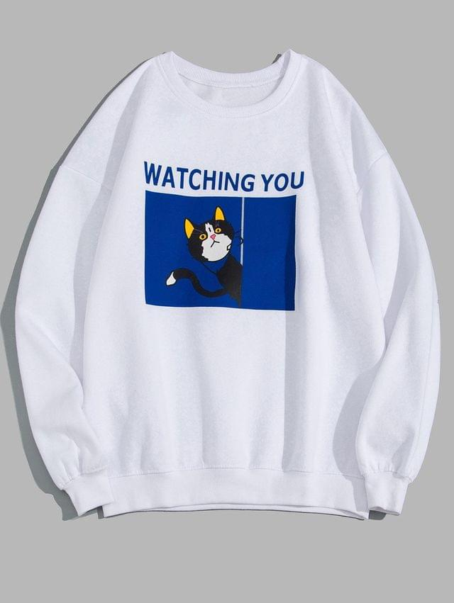 MEN Watching You Cat Graphic Print Fleece Sweatshirt - White 3xl
