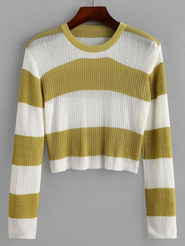 WOMEN Crew Neck Colorblock Stripes Cropped Sweater - Multi-a
