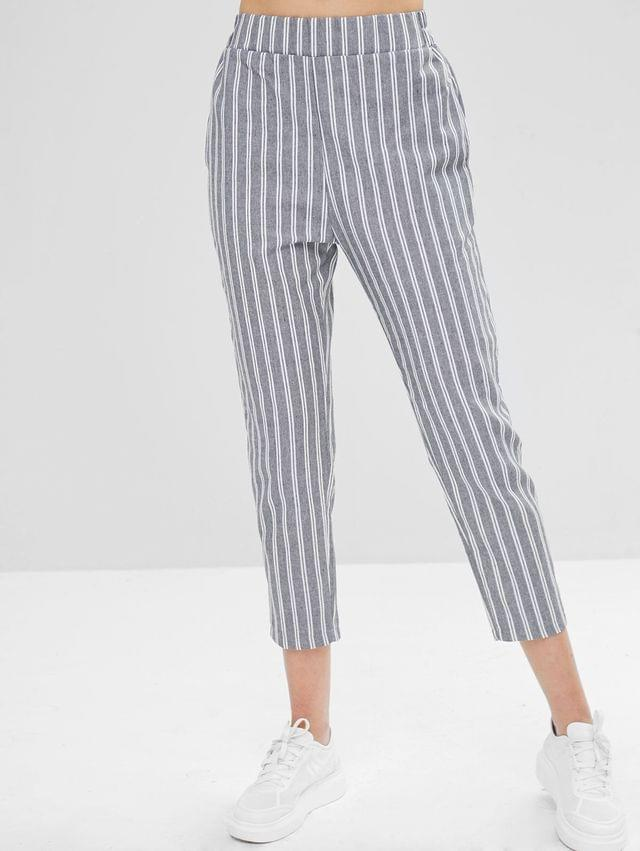 WOMEN Striped Straight High Waisted Pants - Multi S