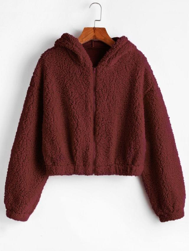 WOMEN Hooded Zip Up Fluffy Teddy Jacket - Red Wine S
