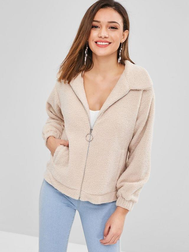 WOMEN Zip Up Faux Shearling Fluffy Winter Coat - Camel Brown Xl