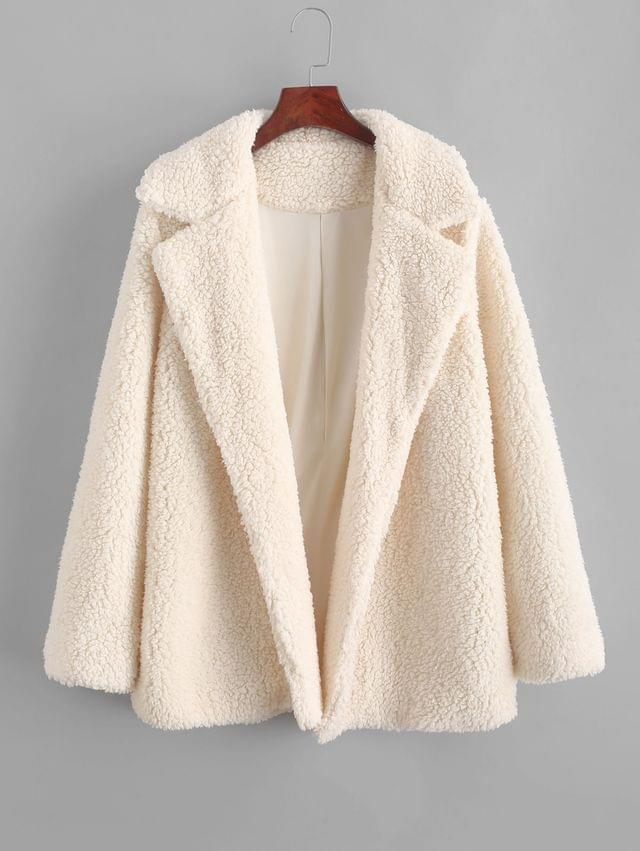 WOMEN Open Faux Shearling Fluffy Teddy Coat - Apricot Xl