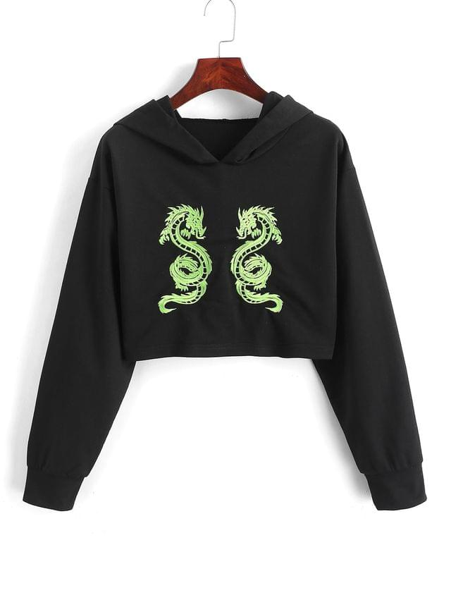 WOMEN Cropped Dragon Embroidered Hoodie - Black Xl