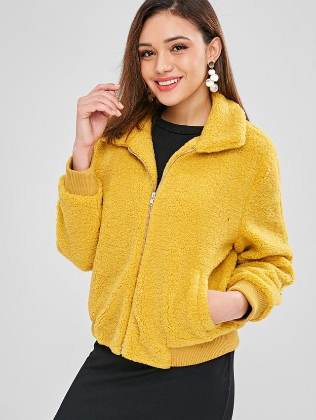 WOMEN Fluffy Faux Shearling Winter Coat - Mustard L