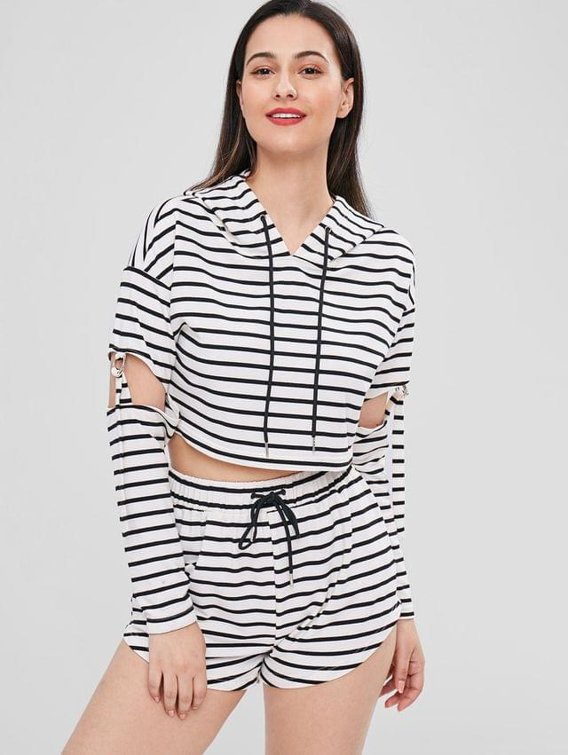 WOMEN Striped Cut Out Hoodie And Shorts Set - Multi Xl