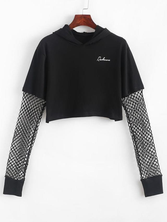 WOMEN Fishnet Panel Cropped Letter Graphic Hoodie - Black S