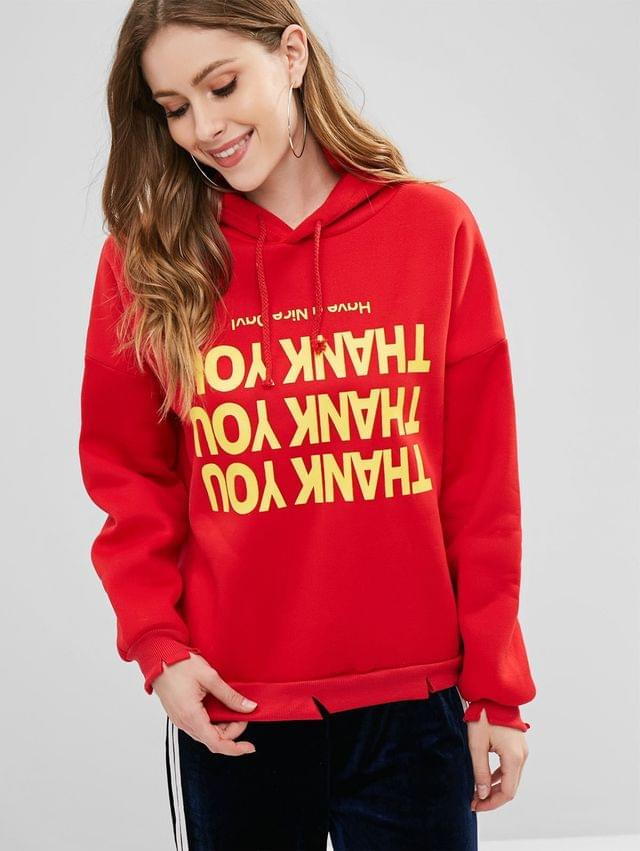 WOMEN Fleece Lined Letter Graphic Pullover Hoodie - Red S