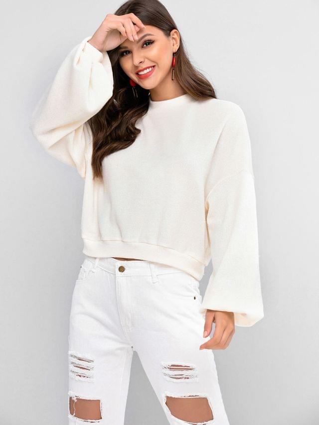 WOMEN Lantern Sleeve Drop Shoulder Crew Neck Sweater - Warm White S