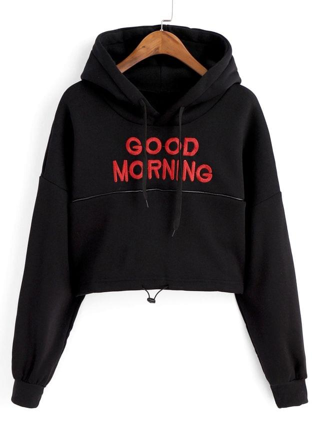 WOMEN Toggle Drawstring Drop Shoulder Letter Embroidered Hoodie - Black M