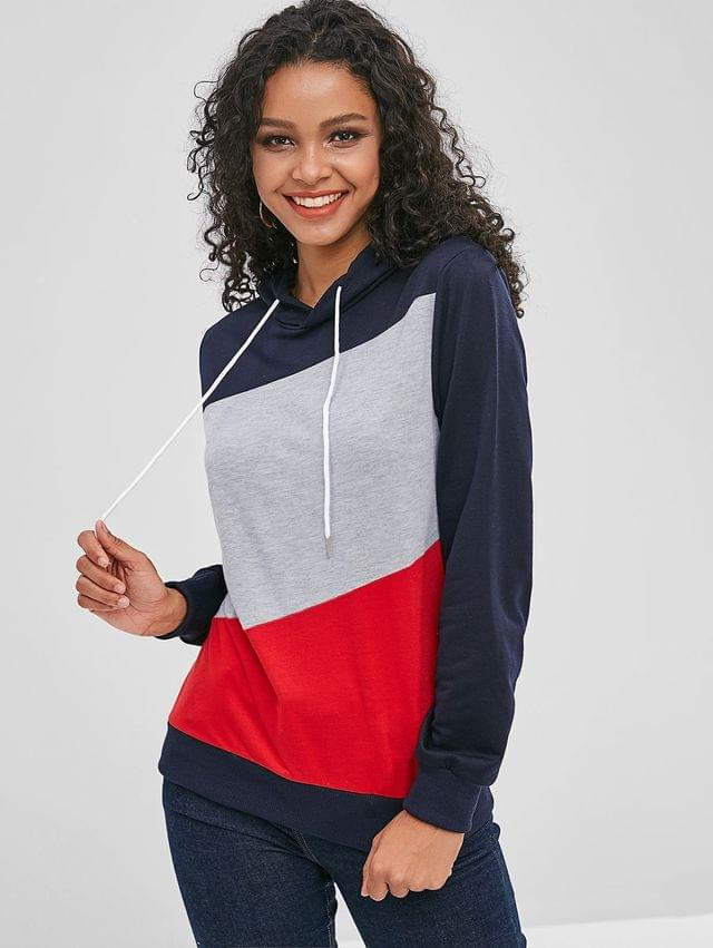 WOMEN Long Sleeve Color Block Drawstring Hoodie - Midnight Blue S