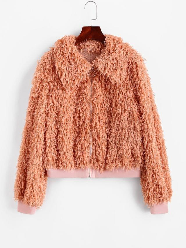 WOMEN Fluffy Textured Zip Front Jacket - Orange Pink M
