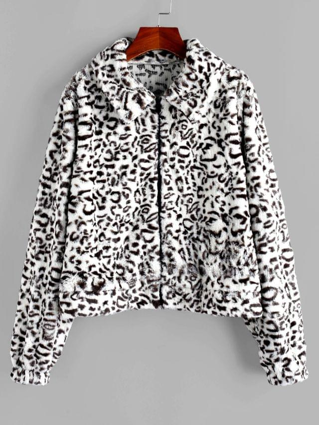 WOMEN Faux Fur Leopard Fluffy Zipper Coat - Multi M
