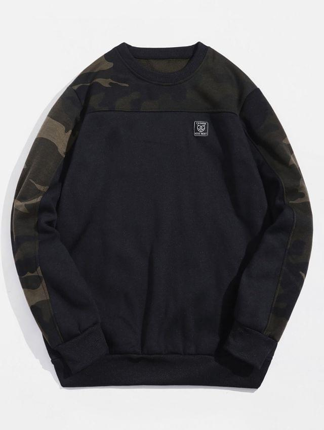 MEN Camouflage Print Panel Crew Neck Fleece Sweatshirt - Black M