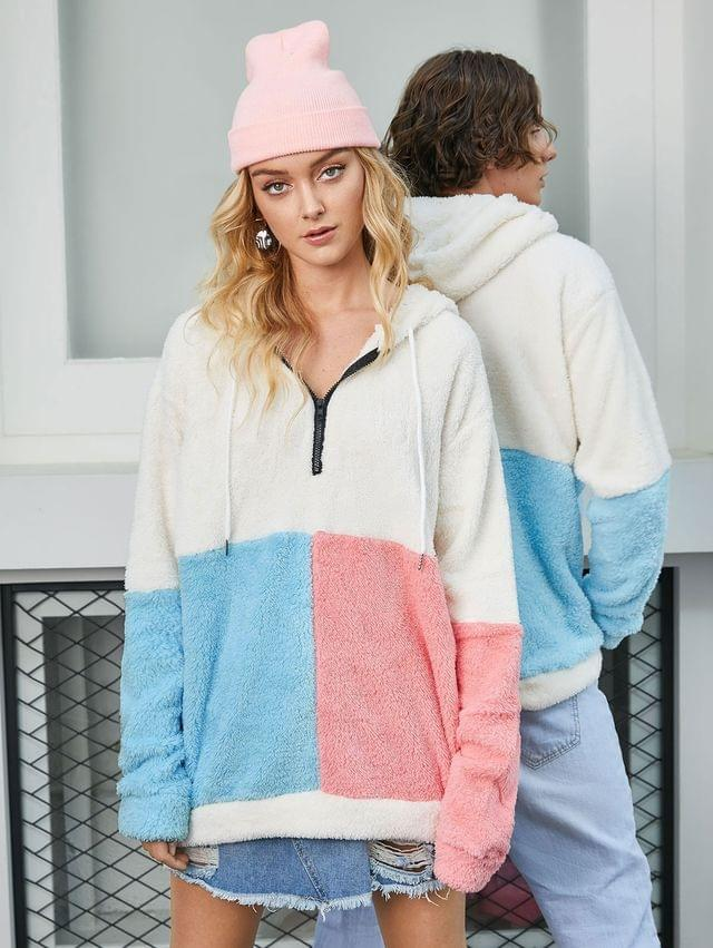 WOMEN Colorblock Half Zip Fluffy Hoodie - Multi Xl