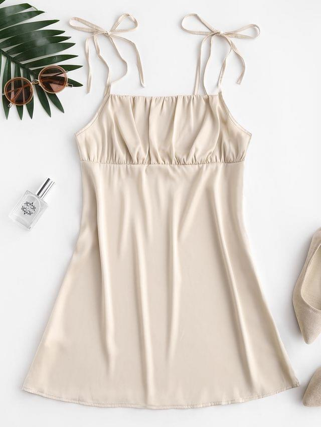 WOMEN Silky Ruched Front Tie Shoulder Mini Dress - Champagne Gold L