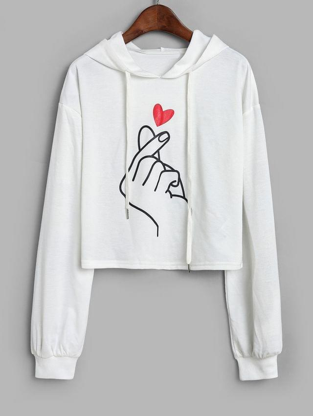 WOMEN Finger Heart Graphic Cropped Drawstring Hoodie - White L