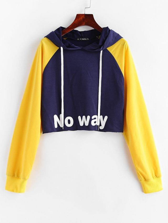 WOMEN No Way Graphic Raglan Sleeve Cropped Hoodie - Multi Xl