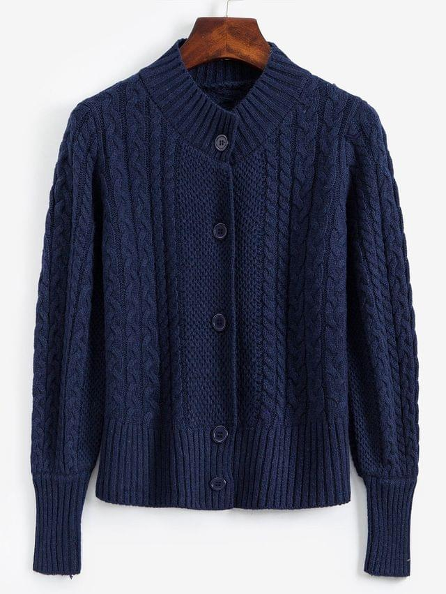 WOMEN Mock Neck Button Front Cable Knit Cardigan - Midnight Blue