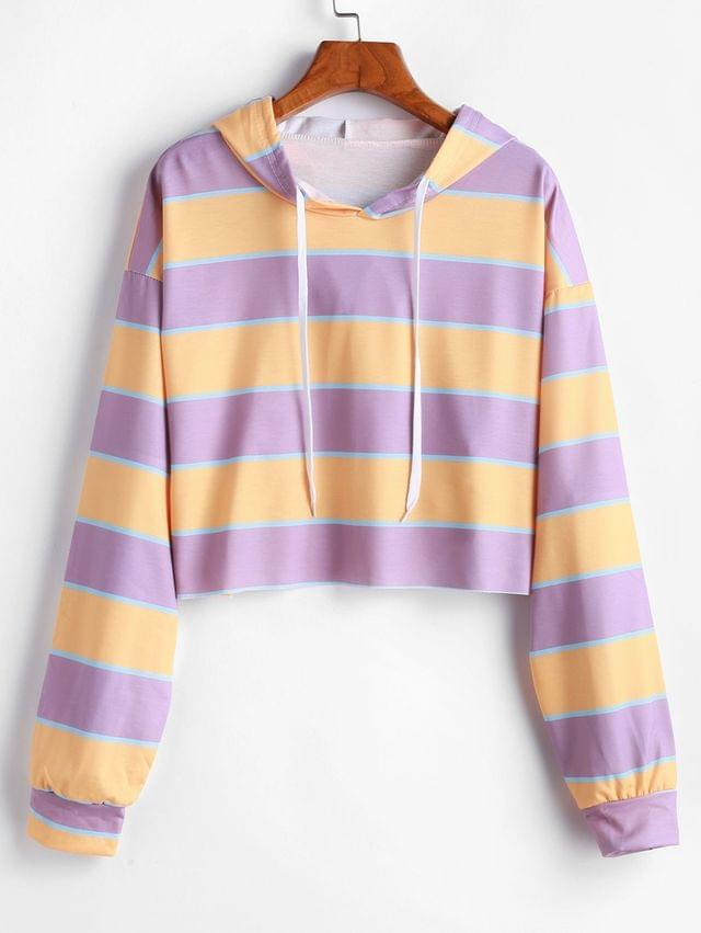 WOMEN Striped Drop Shoulder Raw Cut Hoodie - Multi L