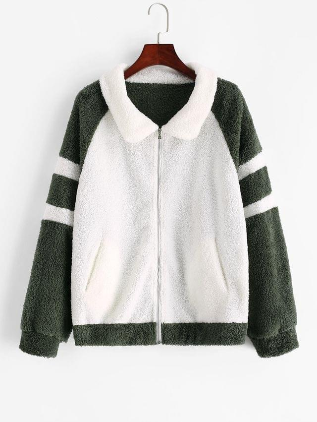 WOMEN Zip Front Colorblock Raglan Sleeve Teddy Jacket - Multi-a M