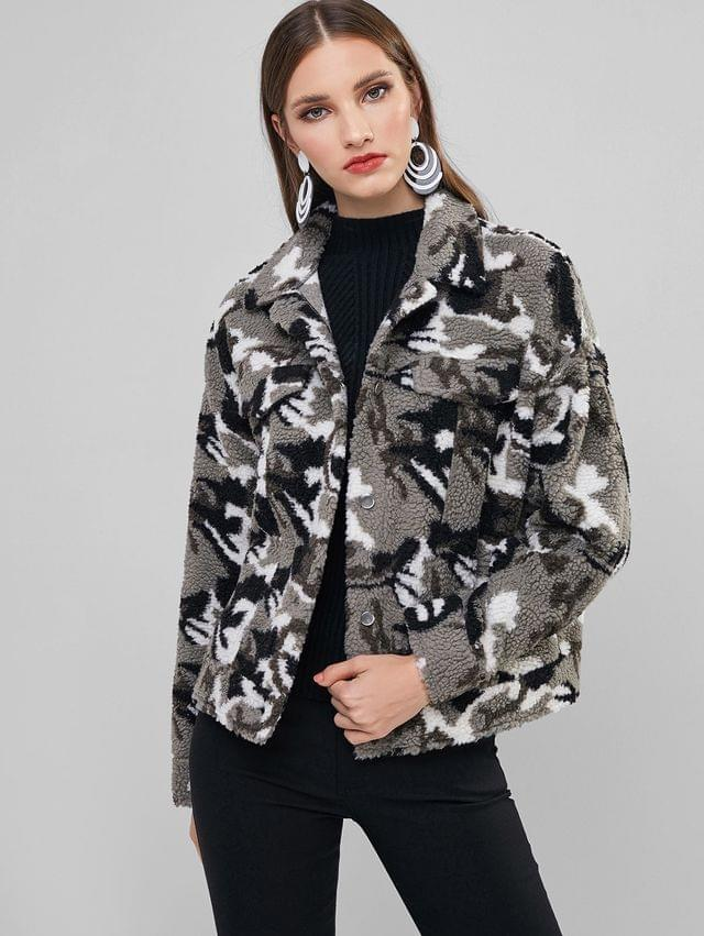 WOMEN Camo Print Fluffy Faux Fur Coat - Snow Camouflage Xl