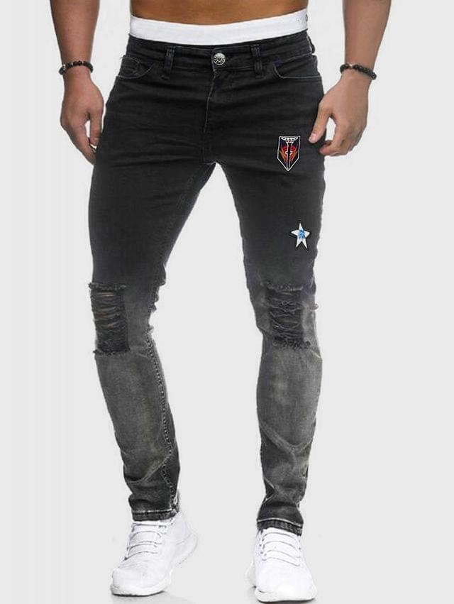 MEN Embroidery Design Ripped Zipper Fly Jeans - Black L