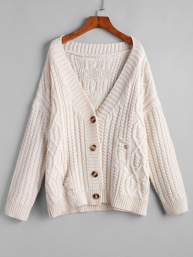 WOMEN Button Up Cable Knit Solid Chunky Cardigan - Warm White S