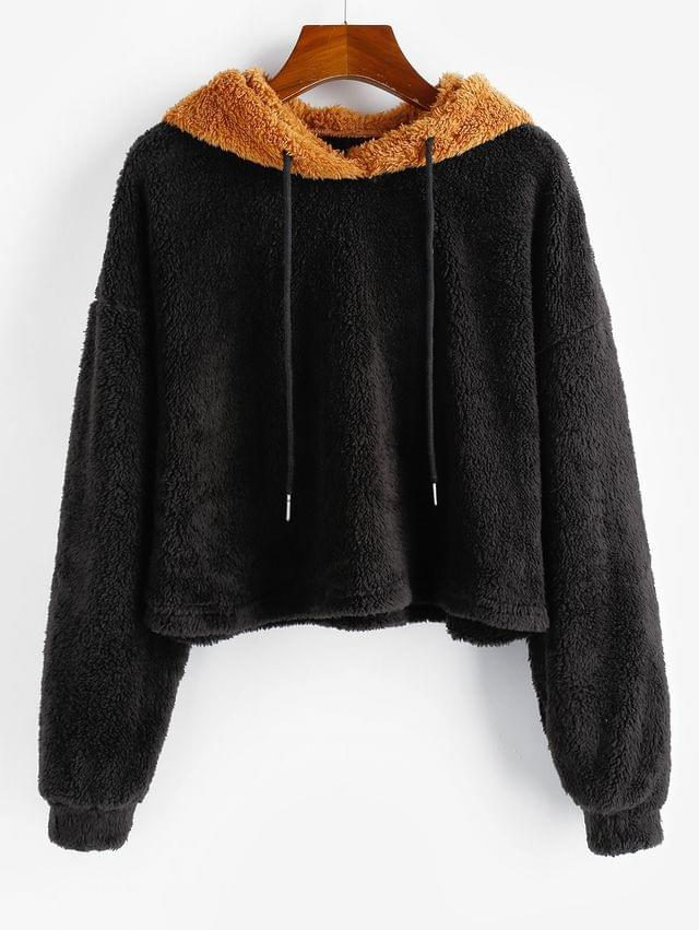 WOMEN Two Tone Fluffy Drop Shoulder Teddy Hoodie - Multi Xl