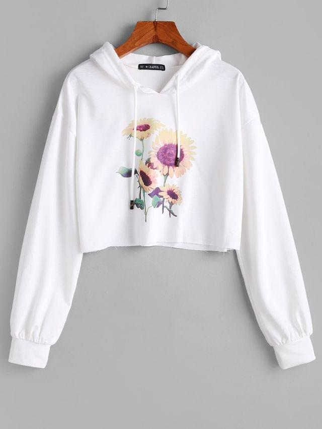 WOMEN Sunflower Drop Shoulder Crop Hoodie - Milk White Xl