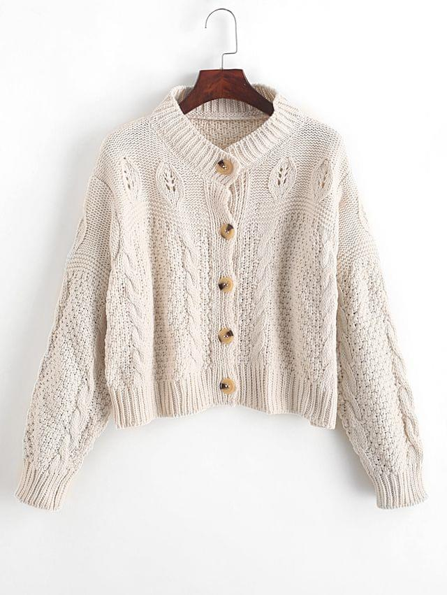 WOMEN Loose Button Up Cable Knit Cardigan - White
