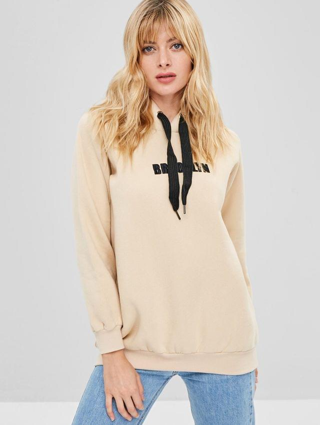 WOMEN Graphic Embroidered Pullover Fleece Hoodie - Blanched Almond L