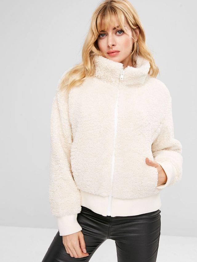 WOMEN Zip Up Fluffy Faux Shearling Winter Coat - White L