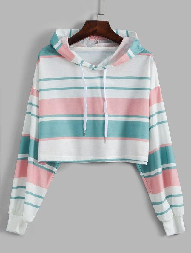 WOMEN Drop Shoulder Drawstring Stripes Hoodie - Multi Xl