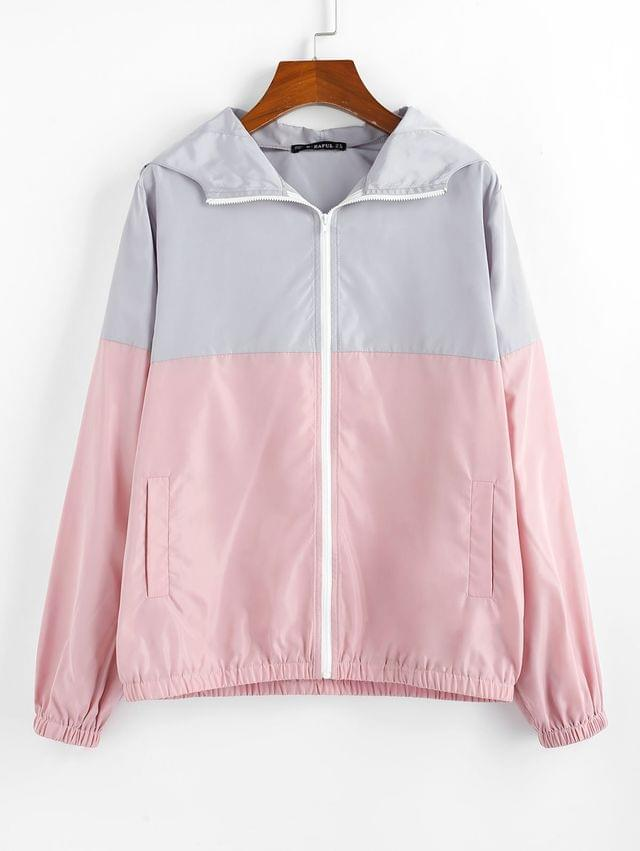 WOMEN Colorblock Zip Up Windbreaker Hooded Jacket - Multi M