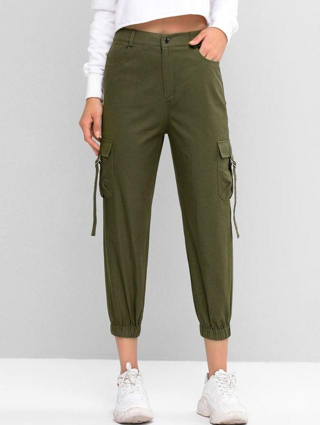 WOMEN High Waist Solid Jogger Pants - Camouflage Green M
