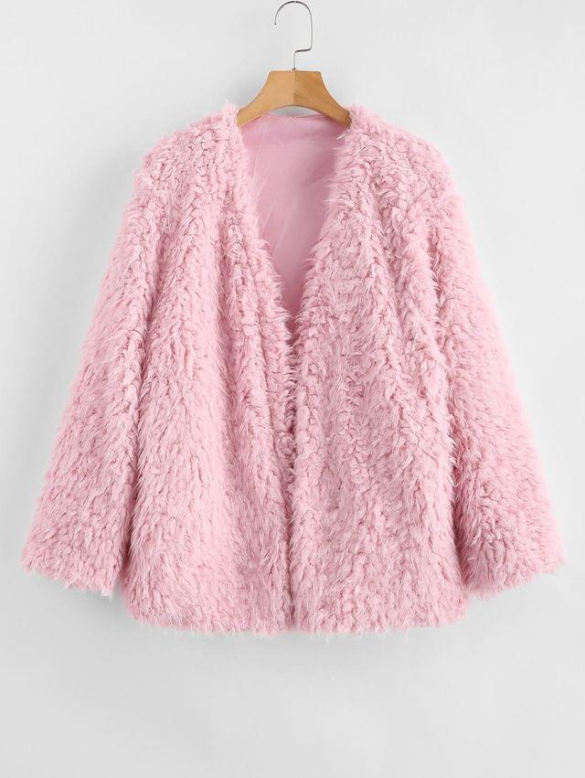 WOMEN Open Front Fluffy Faux Fur Winter Coat - Pink M