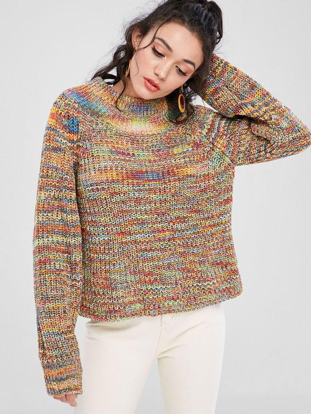 WOMEN Funnel Neck Chunky Colorful Jumper Sweater - Multi M