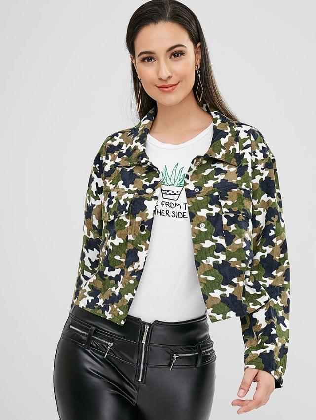 WOMEN Snap Button Camouflage Corduroy Jacket - Camouflage Green S