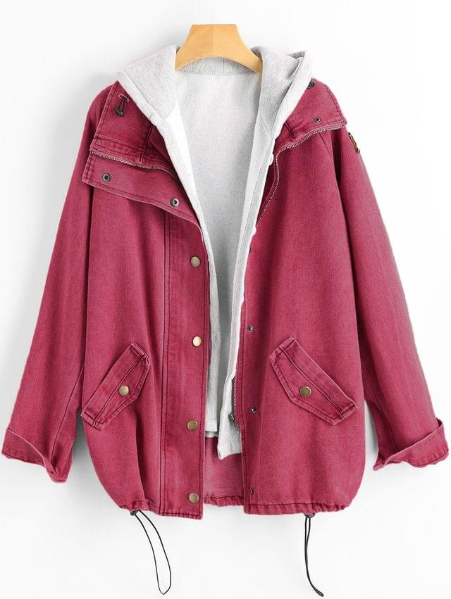 WOMEN Button Up Denim Jacket And Hooded Vest - Cherry Red Xl