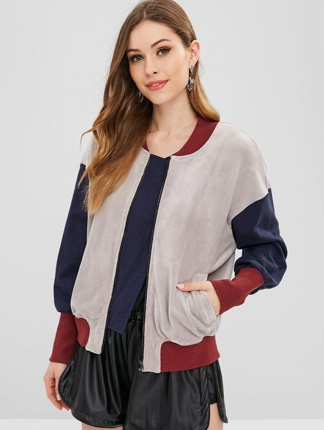 WOMEN Color Block Zip Velvet Jacket - Multi Xl