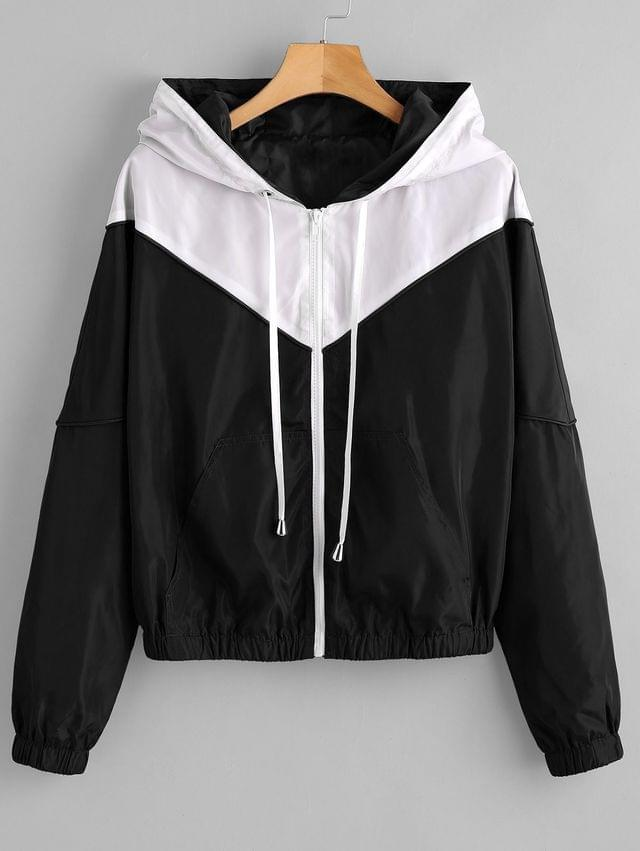 WOMEN Zip Up Two Tone Windbreaker Jacket - Black L