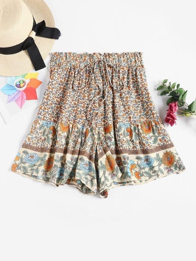 WOMEN High Waisted Ditsy Floral Wide Leg Shorts - Multi-a S