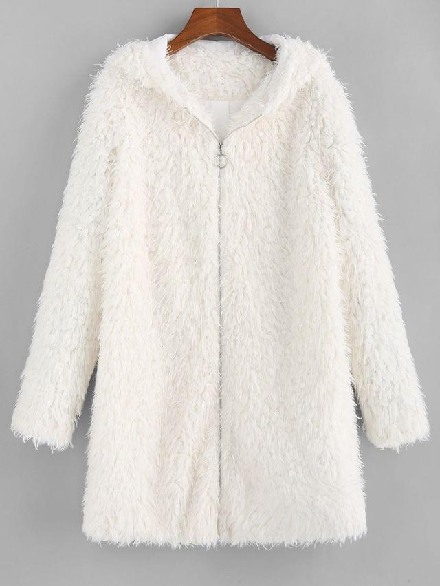 WOMEN Faux Shearling Hooded Fluffy Zip Tunic Coat - Crystal Cream L